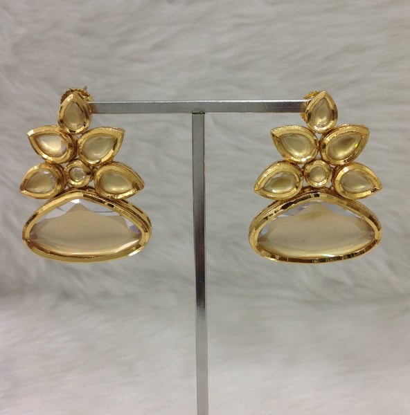Beautiful Kundan Flower Long Earrings