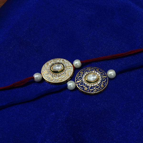 Beautiful Meenakari With Crystal Set 2 Rakhi