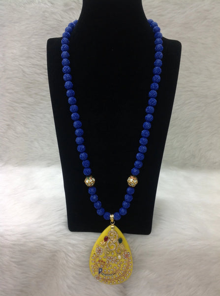 Midnight Blue Beaded in Bumblebee Yellow Pendant Necklace