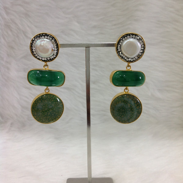 Elegant Emerald Green Gemstones Pearl Earrings