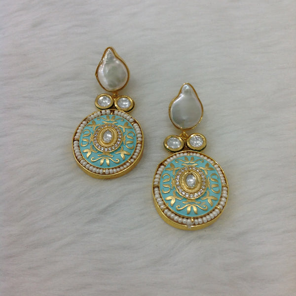 Stunning Seafoam Green  Meenakari Pearl Drop Earrings
