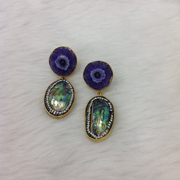 Perfect Purple Druzy Stone With Pearl Drop Earrings