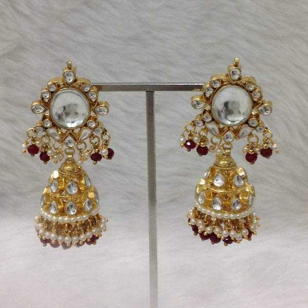 Splendid Kundan Golden Red Jhumka Earrings