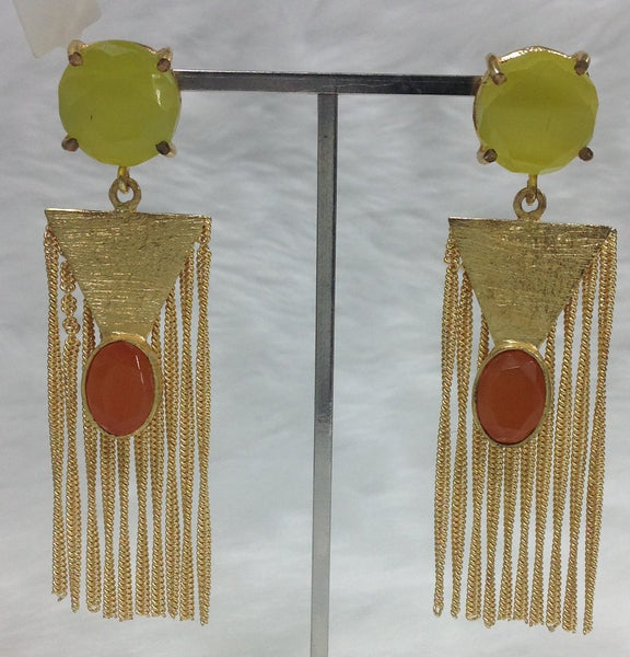 Charming Lime and Orange Dressy Earrings