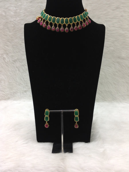 Ruby Pink and Emerald Green Tear Drop Choker Necklace Set