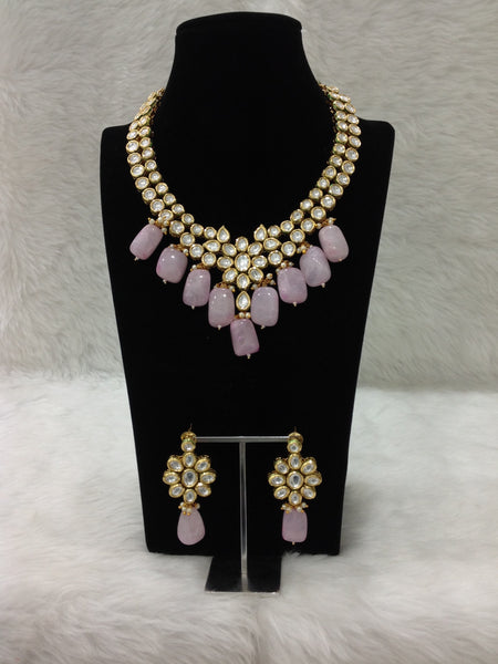 Princess Pastel Pink Kundan Necklace