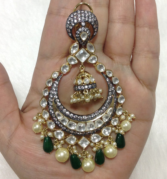 Lustrous Kundan & Pearls Green Earrings