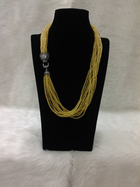 Golden Yellow Black Polished Side Pendant Necklace