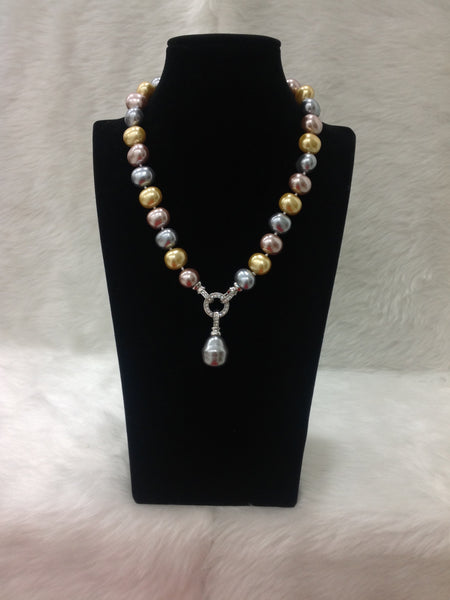 Magnificant Mix Shade Pearl With Crystal Necklace
