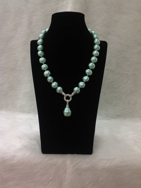 Marvellous Mint Green Pearls And Crystal Necklace