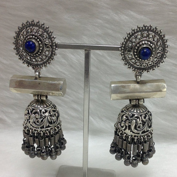 Bless in Blue Silver Jhumka Long Earrings
