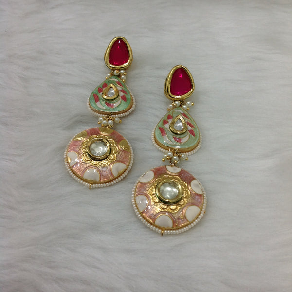 Heavenly Ruby Red and Green Enamel Earrings