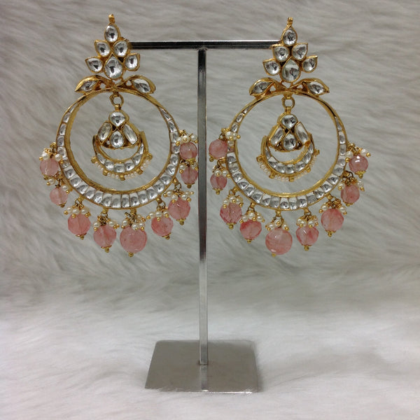 Rose Pink Kundan Delightful Chandbali Earrings