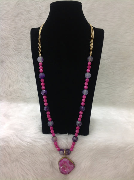 Admirable Pink And Purple Gemstones with Druzy Stone Necklace