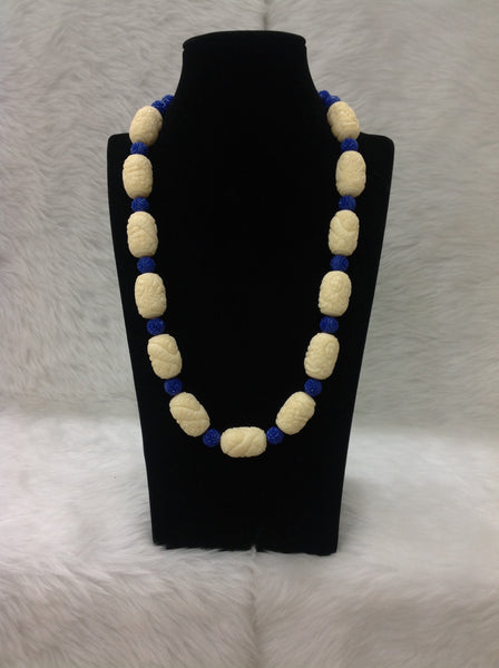 Elegant Mermaid Encarved Cream Blue Necklace