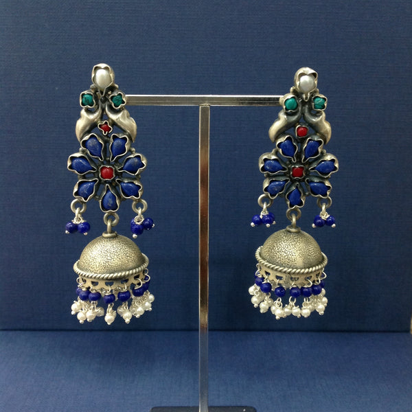 Trendsetting Floweret Silver Jhumka Long Earrings