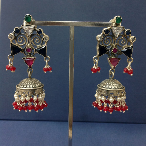 Fabulous Blue Red and Silver Jhumka Long Earrings