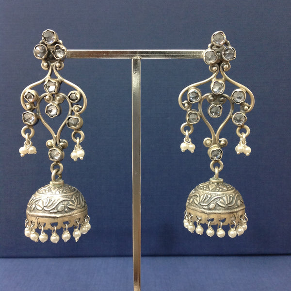 Stunning Silver Jhumki Long Earrings
