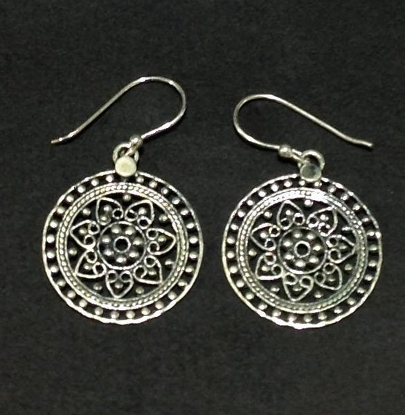Round Ethnic 925 Sterling Silver Earrings