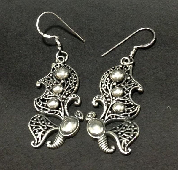 Silver Semi Butterfly Wing Drop Earrings