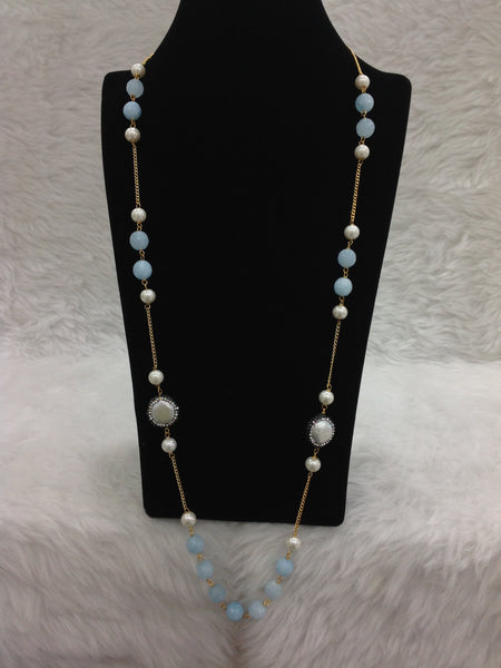 Brilliant Baby Blue Gemstones And Crystal Necklace