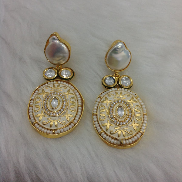 Stunning Parmesan Cream Meenakari Pearl Earrings