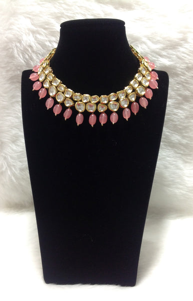 Pastel Red Kundan Choker Necklace Set