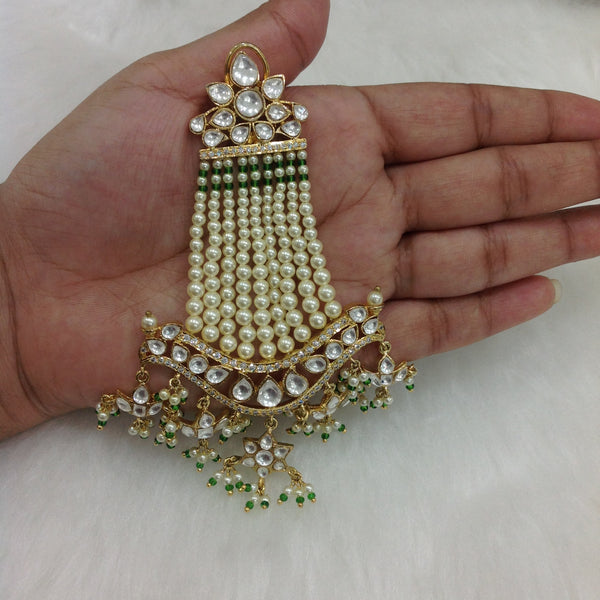 Splendid Shell Pearl And Kundan Long Earrings