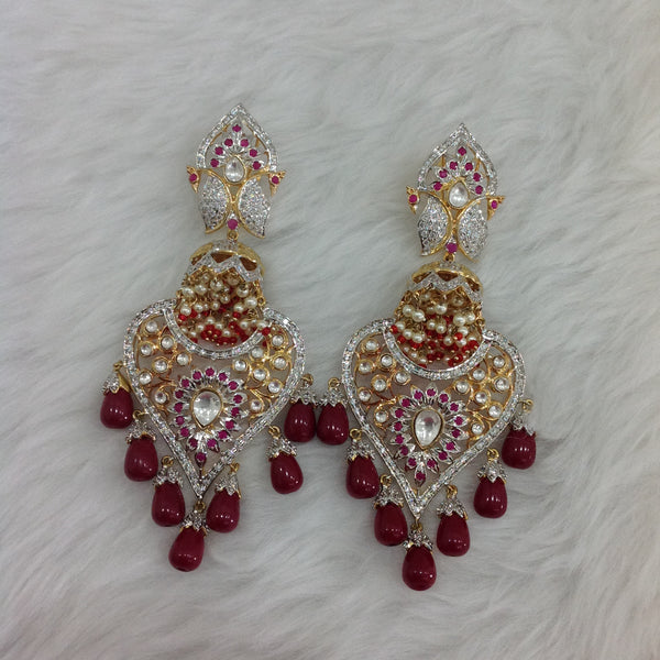 Gigantic Long Kundan With Crystal Earrings