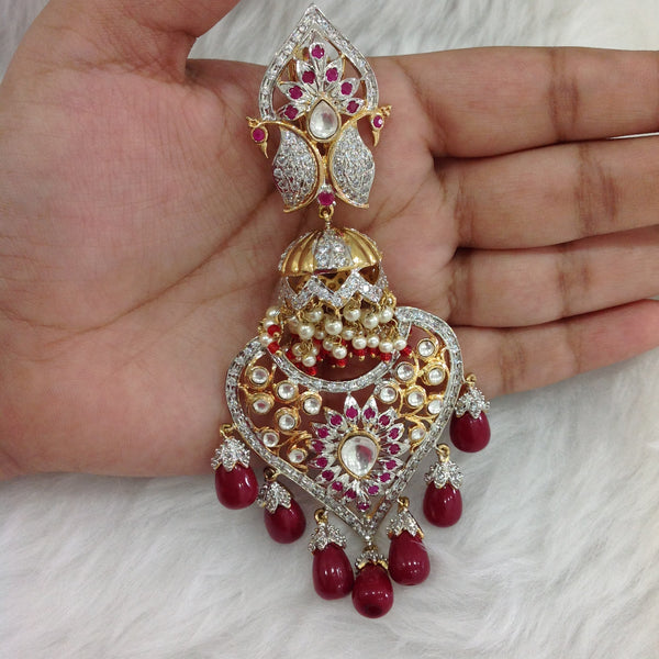 Gigantic Kundan With Crystal Long Earrings