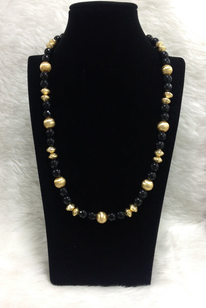 Black as Night Golden Necklace