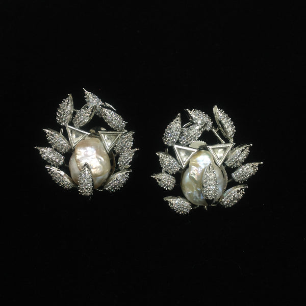 Exquisite Leaf Crystal Baroque Pearl Earrings