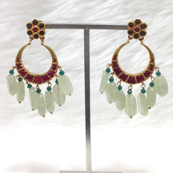 Sage Green Laurel Red Chandbali Earrings