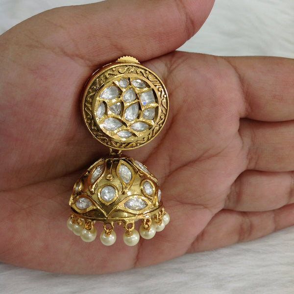 Golden Allure White Kundan and Pearls Jhumka Earrings