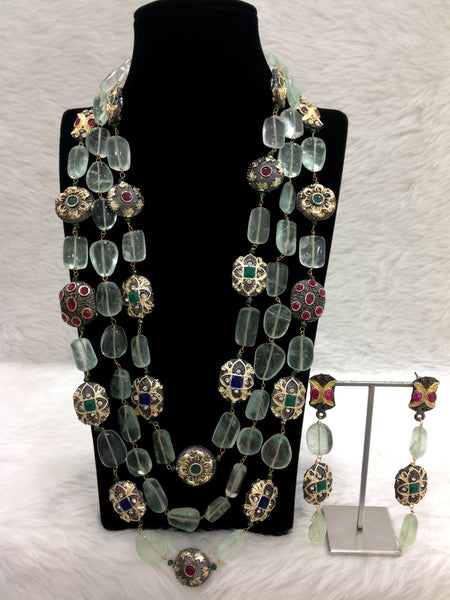 Captivating Green Intriguing Gemstones Necklace Set