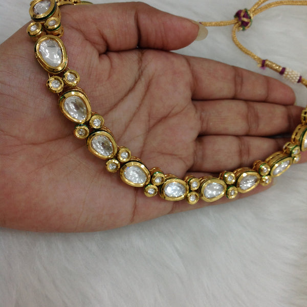 Spherical Oval Beautiful Kundan Choker Necklace Set