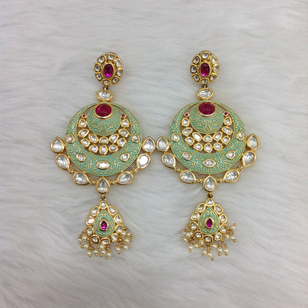 Mint Green Pink Chandbali Long Earrings