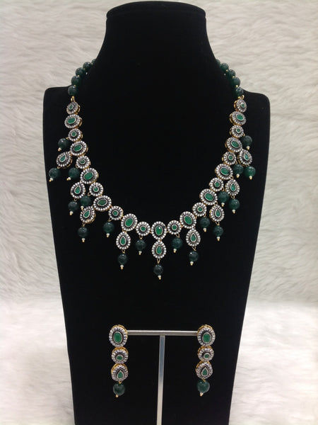 Elegant Emerald Green Gemstones With Crystal Necklace Set