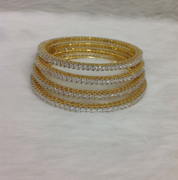 Exquisite Golden And Crystal Bangles