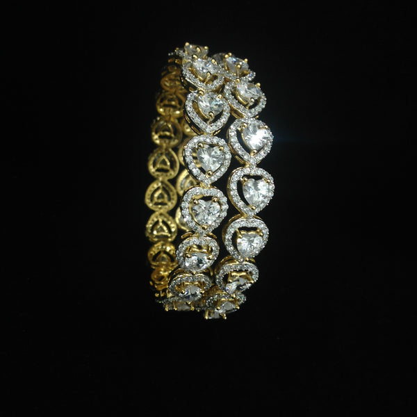 Royal Heart of Golden And Crystal Bangles