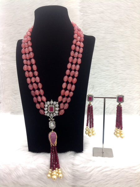 Pleasent Pastel Red Gemstones Crystal Tassles Necklace Set