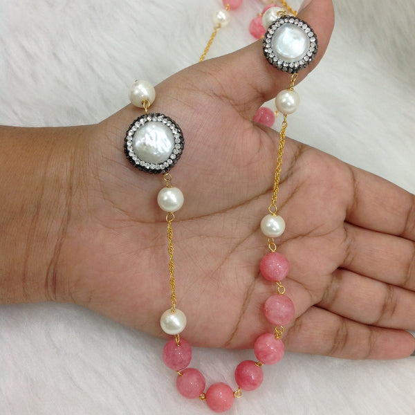 Charming Coral Pink Gemstones And Crystal Necklace
