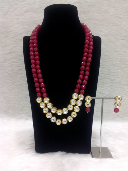 Two Stranded Red Gemstone Beaded Dual Kundan Pedestal Necklace Set