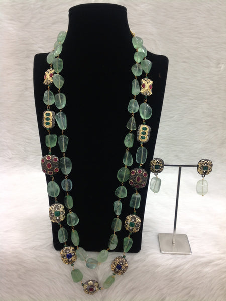 Captivating Green 2 Stranded Intriguing Gemstones Necklace Set