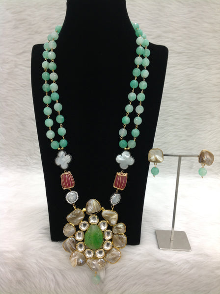 Mingling Seafoam Green Gemstones Pearls Kundan Crystal Necklace Set