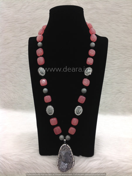 Prestigious Pastel Red Gemstones With Druzy Pendant Necklace