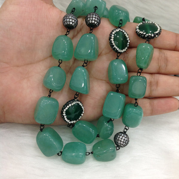 Prestigious Fern Green Gemstones with Crystal Necklace