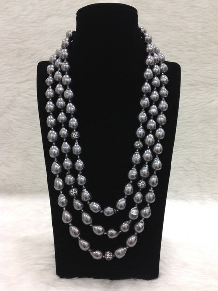 Three Stranded Black Pearl And Crystal Necklace