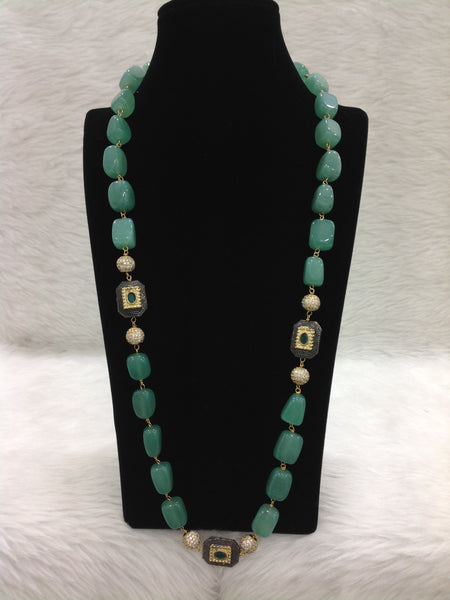 Precious Fern Green Gemstones And Crystal Necklace