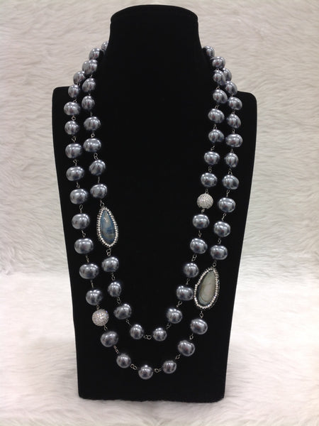Blossom Black Pearls With Crystal And Gemstones Necklace